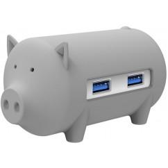 USB Hub ORICO Little Pig + čitalnik kartic, OTG (ADAORI011), siv