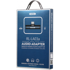 Adapter REMAX USB Type-C v USB Type-C + audio, bel (RL-LA03a)