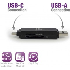 Čitalnik kartic EWENT USB 3.1, USB-C (EW1075)